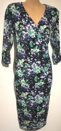 EVIE BLUE/GREEN FLORAL MATERNITY & NURSING DRESS SIZE 16